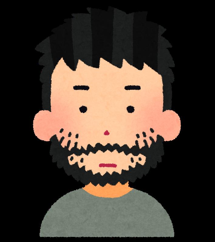 無精髭を生やした男性