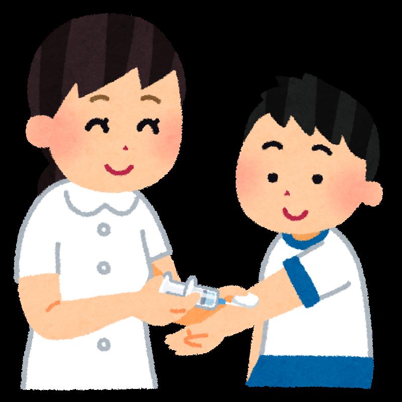 インフルエンザの予防接種(注射)でワクチンを打つ