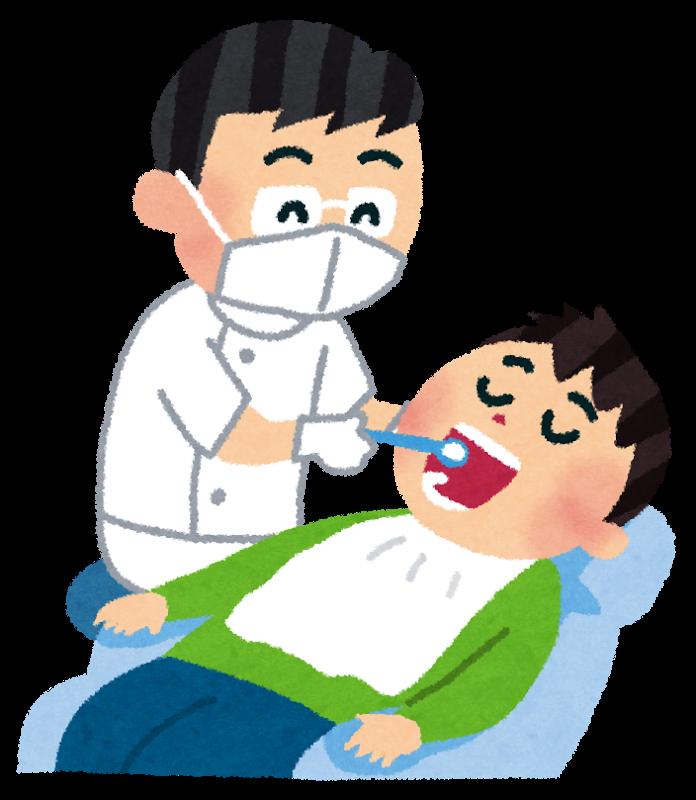 歯医者で虫歯・定期検診を受ける様子